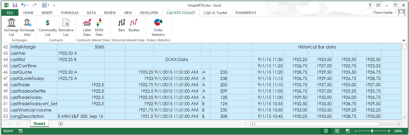 CQG RTD Toolkit for Excel
